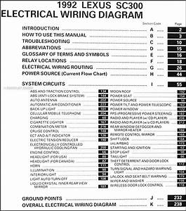 1992 Lexus Sc 300 Wiring Diagram Manual Original