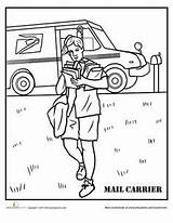 Coloring Mail Pages Carrier Worksheets Printable Colouring Office Worksheet Workers Baker sketch template