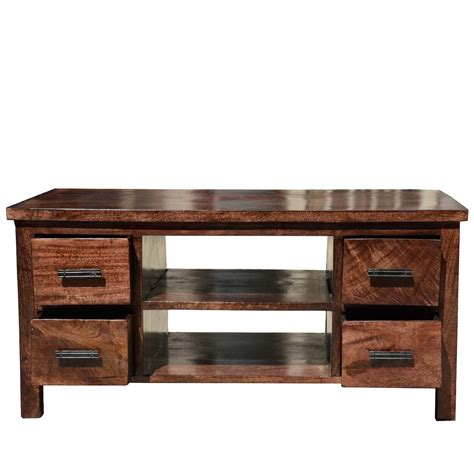 solid wood tv table solid wood open back tv media stand w 4 drawers