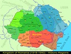 Map of the regions of Greater Romania (1921-1940) with all ...