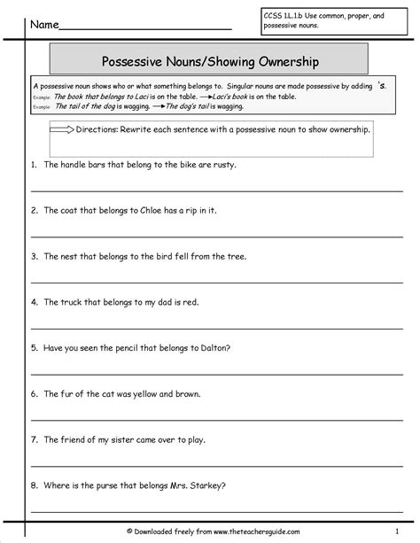 possessive nouns worksheets from the s guide