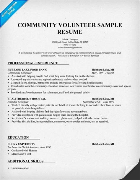 Resume For Hospital Volunteer by Sle Resume Showing Volunteer Work Community Volunteer
