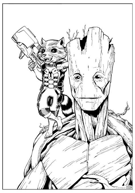 coloring page rocket  groot