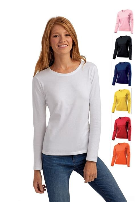 Hanes Plain Long Sleeve Cotton Ladies Womens Womans Girls
