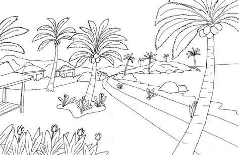gambar pemandangan hitam putih untuk diwarnai anak