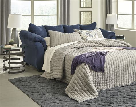 majik darcy blue full size sleeper sofa rent
