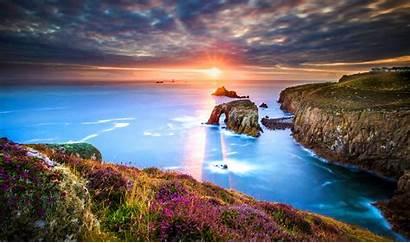 4k Sea Ocean Cornwall Sunrise Sunset Desktop
