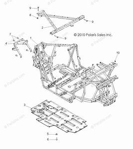 Polaris Side By Side 2013 Oem Parts Diagram For Chassis  Main Frame  U0026 Skid Plate