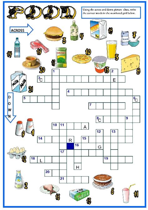 puzzle cuisine food crossword 5to básico