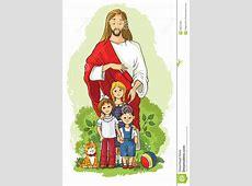 Jesús Con Los Niños Ilustración del Vector Imagen 49327384