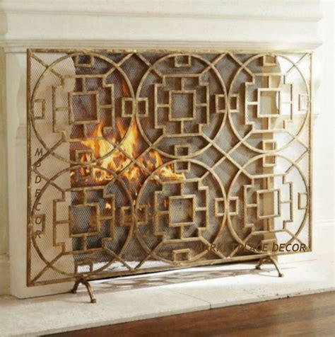 geometric fireplace modern fire screen single panel mesh