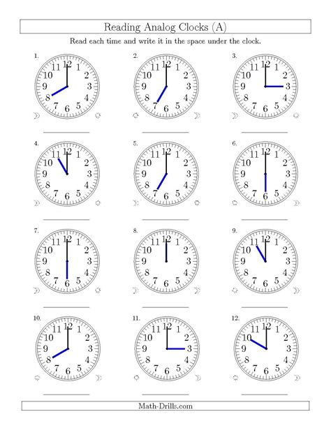the reading time on 12 hour analog clocks in one hour