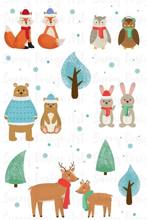 Winter Animals Clipart Cute Forest Vector Woodland