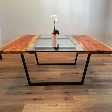 Hand Made Pecan   Glass Square Dining Table by Custom