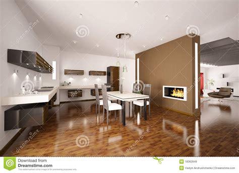 la cuisine de mu la cuisine moderne avec la cheminée 3d rendent