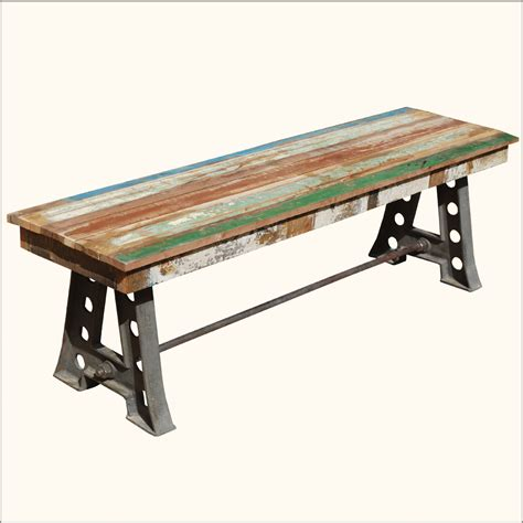 Rustic Solid Teak Wood & Industrial Wrought Iron Bench