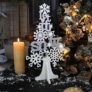 white silver glitter wooden let it snow christmas tree With let it snow wooden letters
