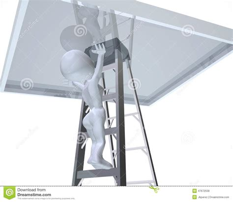 femme 3d atteignant le plafond en verre illustration stock image 47672558