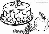 Coloring Pages Cake Printable Sheet Cheesecake Strawberry Colouring Sheets Plate Nature Berry Meals Ready Foods Fruit Slice Cakes Getcolorings Irish sketch template