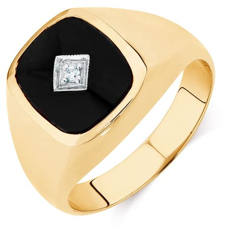 black hill gold rings 39 s set ring with black onyx in 10ct yellow gold
