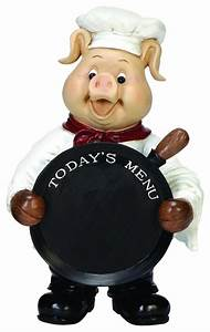 Delightful Smiling Pig Chef Holding Chalkboard Pan Statue