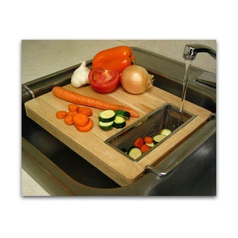 over the sink wood vegetable cutting board w strainer