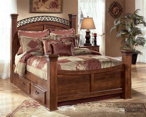king poster bed  underbed storage  signature design