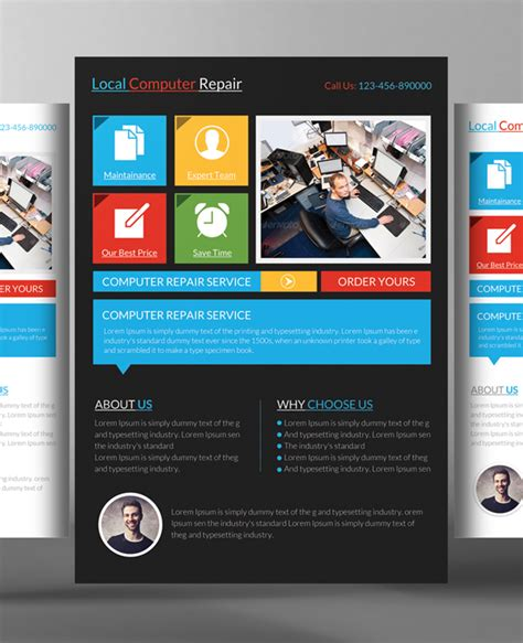 Computer Psd Templates Download by Computer Repair Flyer Templates 24 Free Psd Ai Format