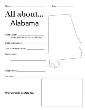 alabama state facts worksheet elementary version