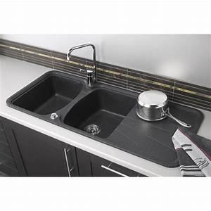 evier a encastrer granit et resine noir korona 2 bacs With salle de bain design avec evier granit gris 2 bacs