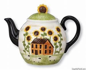 House and Sunflower Tea Pot