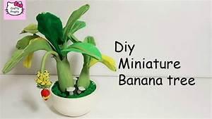 Diy Miniature Tree/How to make clay banana tree/Diy clay