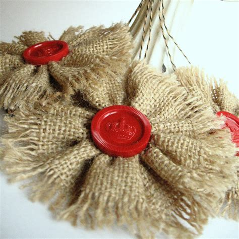 3 rustic burlap ornaments with vintage red checkers