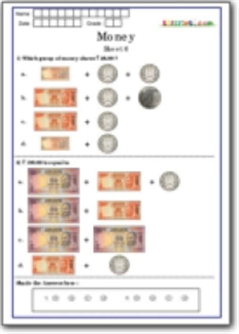 money worksheets for grade 1 worksheets for all