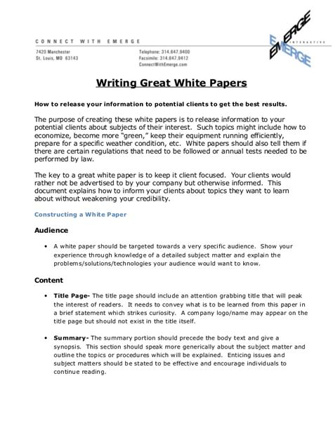 White Paper Outline Template by How To Write A Great White Paper