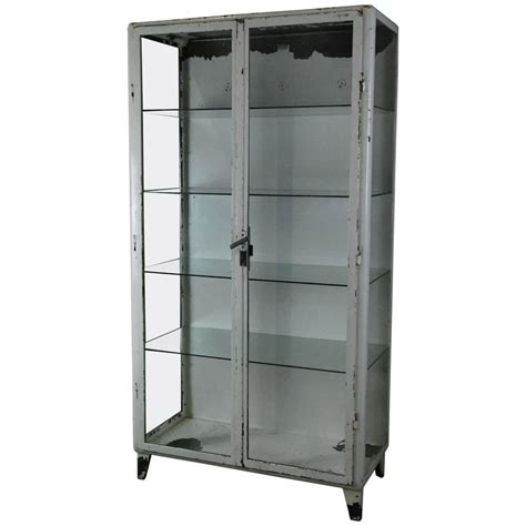 Steel Display Cabinet by 1920 Metal Glass Display Cabinet At 1stdibs