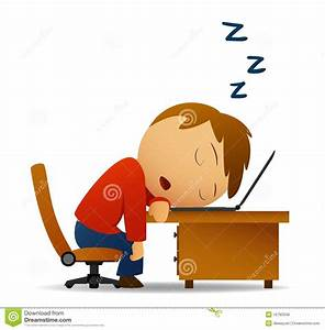 Man Sleeping At Work Table Over Laptop Stock Vector ...