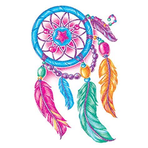 glitter multi colored dream catcher temporary tattoo
