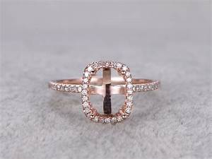 6x8mm diamond engagement ring settings rose gold oval cut With diamond wedding ring settings