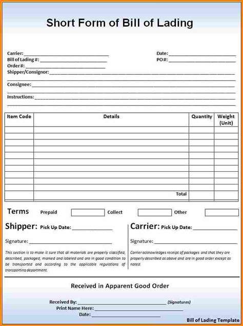 5 bill of lading short form template simple bill