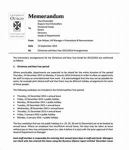 sample holiday memo 8 documents in pdf With hr memo template