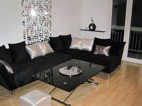 canapé noir et blanc but deco salon canape noir