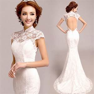 Open back mandarin collar white floral lace trailing for Wedding dress with collar