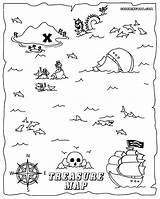 Treasure Coloring Map Pirate Printable Colouring Clipart Template Pdf Ocean Azcoloring Az Colorings Library sketch template