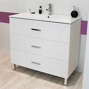 Meuble Salle De Bain A Poser : meuble sur pieds 90 cartanne blanc vasque miroir spot ~ Teatrodelosmanantiales.com Idées de Décoration