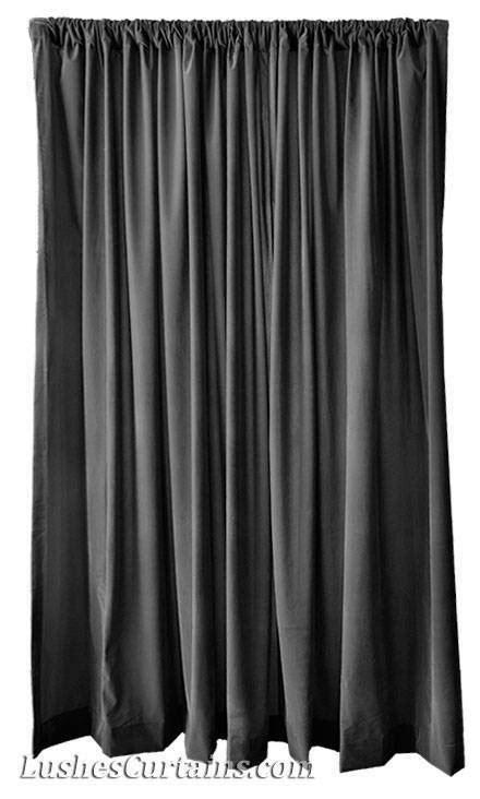 Modern Custom Made Window Drapes Solid Black Velvet 108