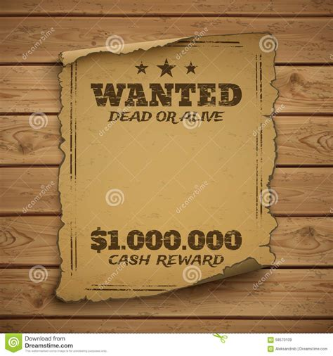 Wanted Dead Or Alive Poster Template Free by Wanted Dead Or Alive Stock Vector Image Of Brown