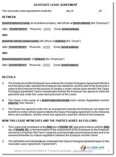 associate lease agreement salary sacrifice arrangements