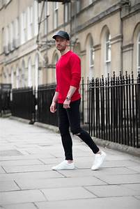 Tom Cridland Red Sweatshirt And Black Skinny Jeans Outfit ...