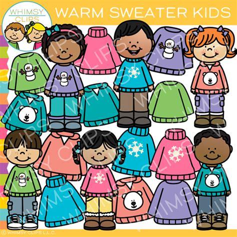 sweater kids kids clipart art bundle warm sweaters